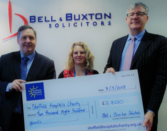 Bell & Buxton Solicitors raise £2,800 for the Sheffield Hospital Charity